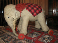 Antique 1940s Germany Schuco Elephant Pull Toy Wooden Wheels