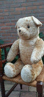 Antique 1920s JUMBO 30 inch Dutch Van Gelden Teddy Bear 76cm Beige Silk Plush