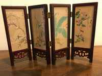 Vintage Chinese 4 Panel Screen Artist Hand Painted Silk Lacquer Rose Wood Glass