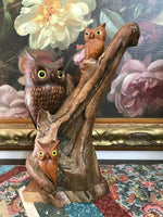50's Mother & Baby OWLS Tree Wood Statue Hand Carved Signed Art 12