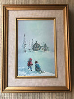 Canadian Artist James Keirstead Gallery SUPPER CALL Children Snow Cardboard Art