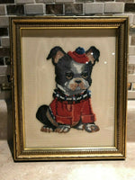 Antique Handmade Petit Point Artwork Boston Terrier Dog Framed Toronto 9x7.5