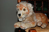 Antique DIEM Germany Laying Lion 1920s Silk Plush 25 inch Glass Eyes Wood Fiber