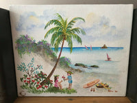 Hawaiian Artist Edna Loo Original Oil Painting on Canvas Signed 10