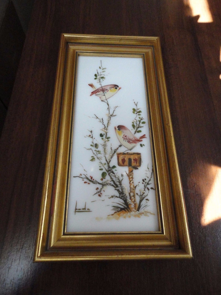 Vintage Spain Original Oil Painting on White Glass Birds Art Signed Wood Frame