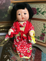Vintage Antique Japanese Celluloid Baby Doll in Kimono 9