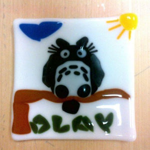"owl on branch, ""OLAY"" glass fused coaster"