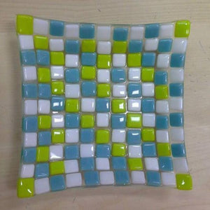 Blue White and Green Squares in Grid pattern on glass fused dish