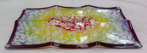 Custom Glass Fused Platter W/Signature Pens