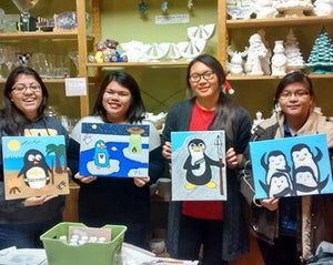 4 Friends Holding up Their finishes Penguin Canvas