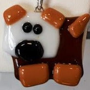 brown dog with white head glass fused pendant