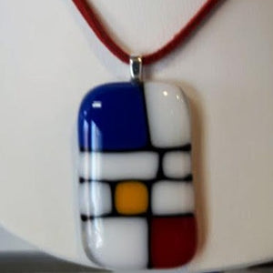 white, blue, red and yellow square and rectangle blocked pendant in fused glass