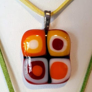 orange, red, yellow, and white square glass fused pendant