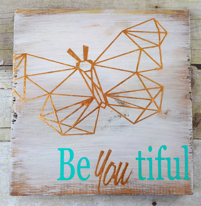 Geo Butterfly Vinyl Cut Out, Be-You-tiful