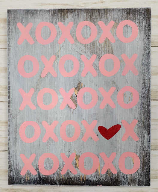 XOXO Heart Wood Art