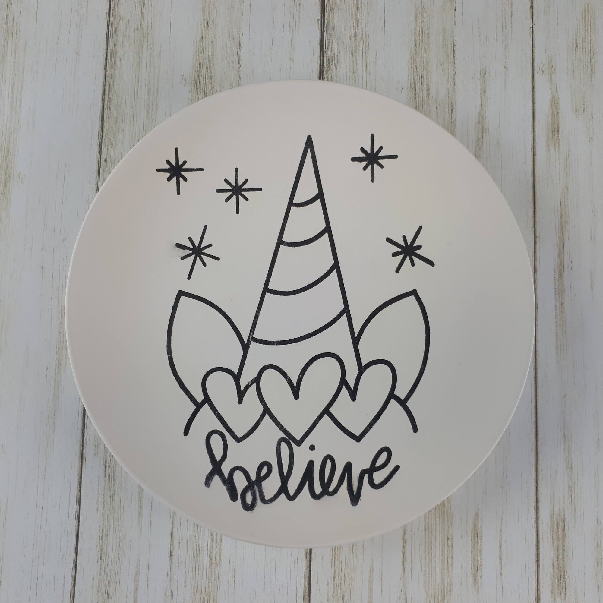 "Unicorn ""Believe"" Colouring Book Salad Plate"