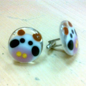 cow face round cufflinks made from fused glass