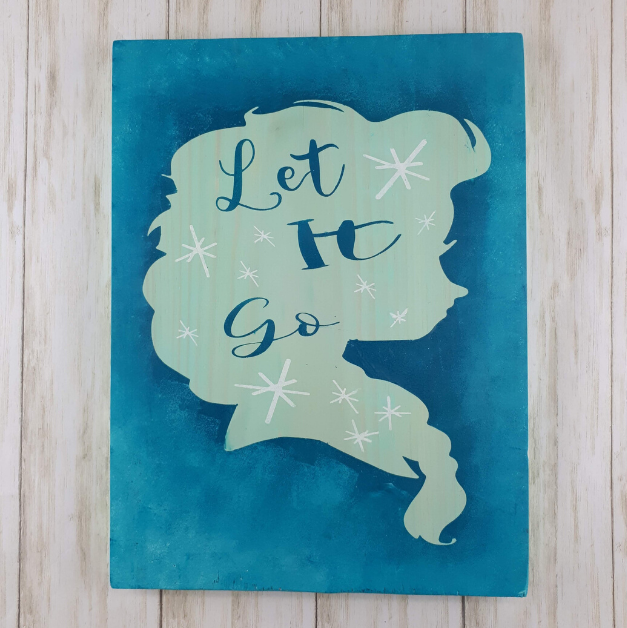 Let It Go Silhouette Wood Art