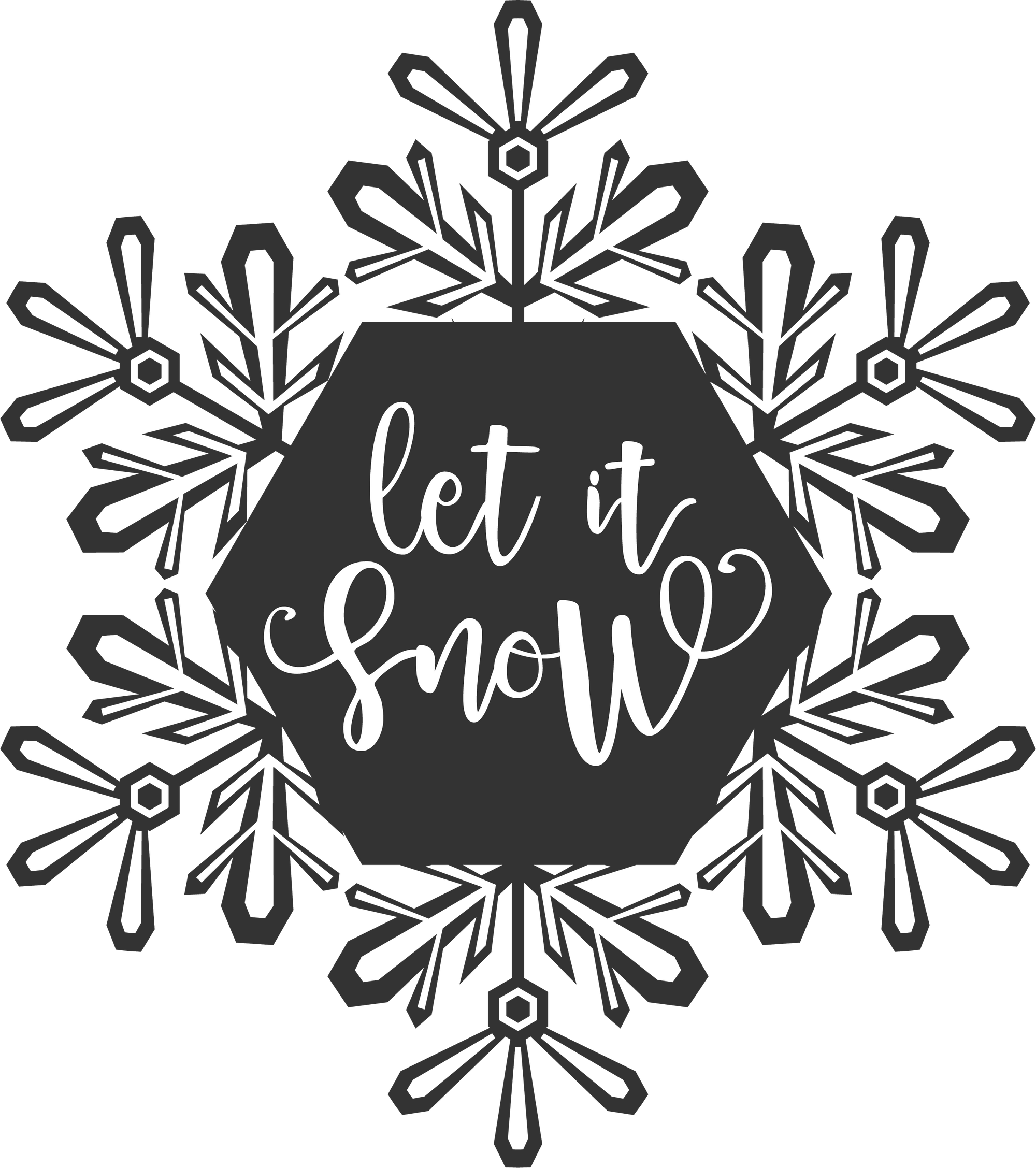 Let It Snow Snowflake Wood Art