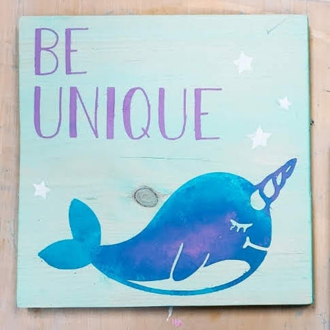 "Narwal ""Be Unique"" Vinyl Cut Out"