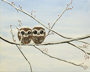 Adult Canvas Night, Owl Babies