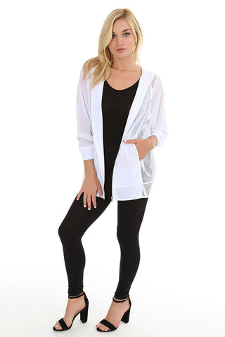 Chiffon & Mesh Hooded Jacket