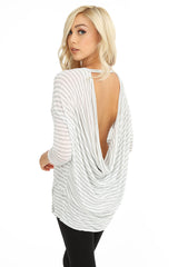 Stripe Cowl Back Top