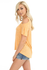 Cold Shoulder Flutter Sleeve Top