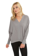 Rib Mix High-Low Dolman Top
