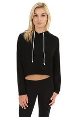 Lace Up Back Crop Hoodie