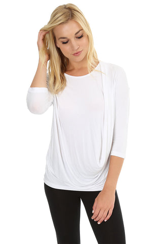3/4 Sleeve Draped Top
