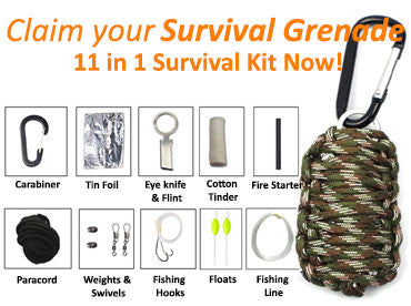 Survival Grenade - Paracord Survival Kit Fishing Kit with Fire Starter