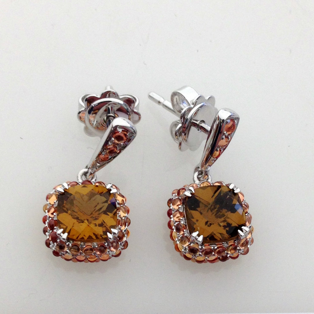 Petit Point Collection Orange Sapphire & Cinnamon Quartz Earrings