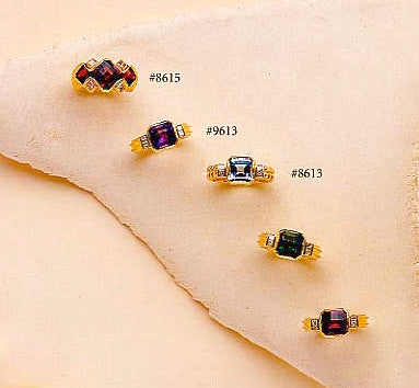 Signature Gold & Checkerboard Cut Gemstone Rings