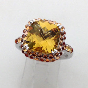 Petit Point Collection Orange Sapphire & Honey Quartz Ring