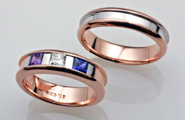 1. Two-Tone Rose & White Gold Wedding Band Set with Birthstones