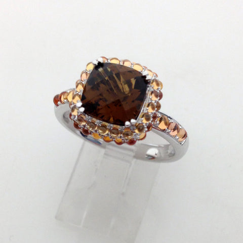 Petit Point Collection Orange Sapphire & Cinnamon Quartz SMALL Ring