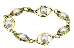 N. Viewpoint Gold Link Pearl & Diamond Bracelet #4538.9d