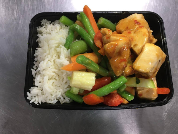 Sweet Chilli Chicken with Basmati Rice and Mixed Veg