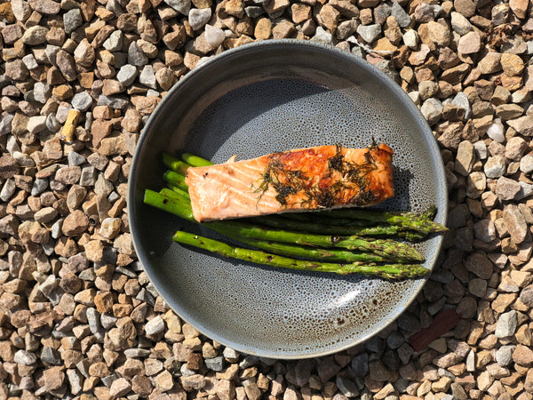 ***Atlantic Salmon with / Grilled Asparagus / white potato cubes