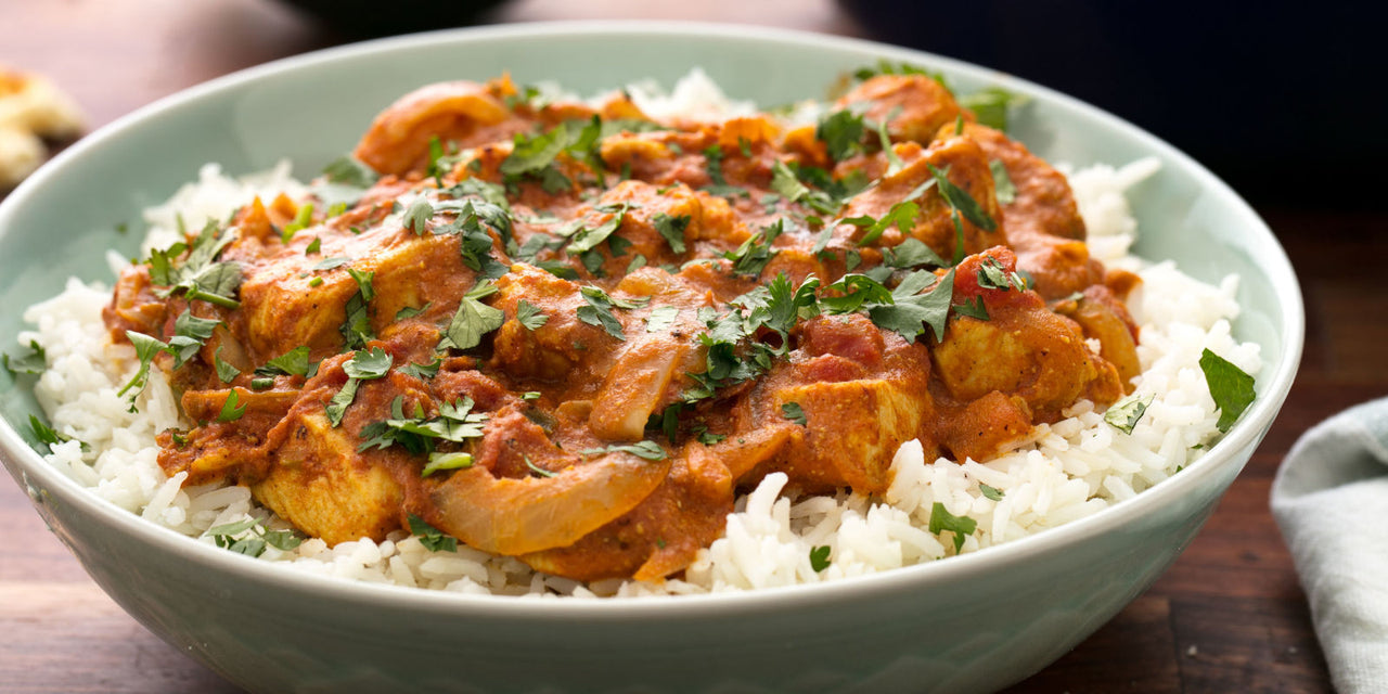 Butter Chicken with Basmati Rice and Greens