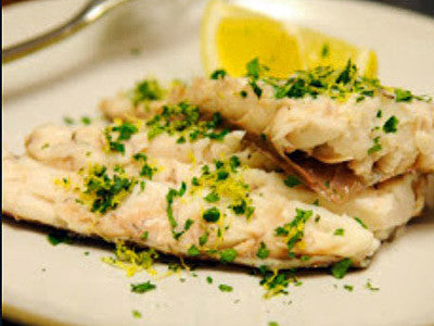white fish with lemon and herbs