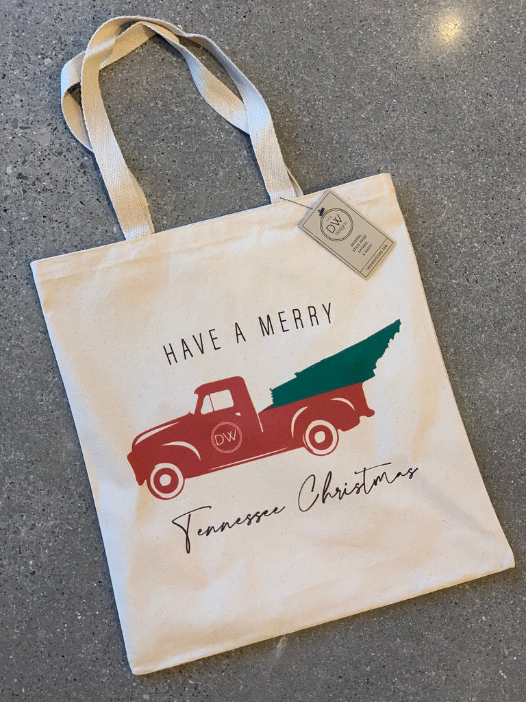 TN Christmas Truck Canvas Tote