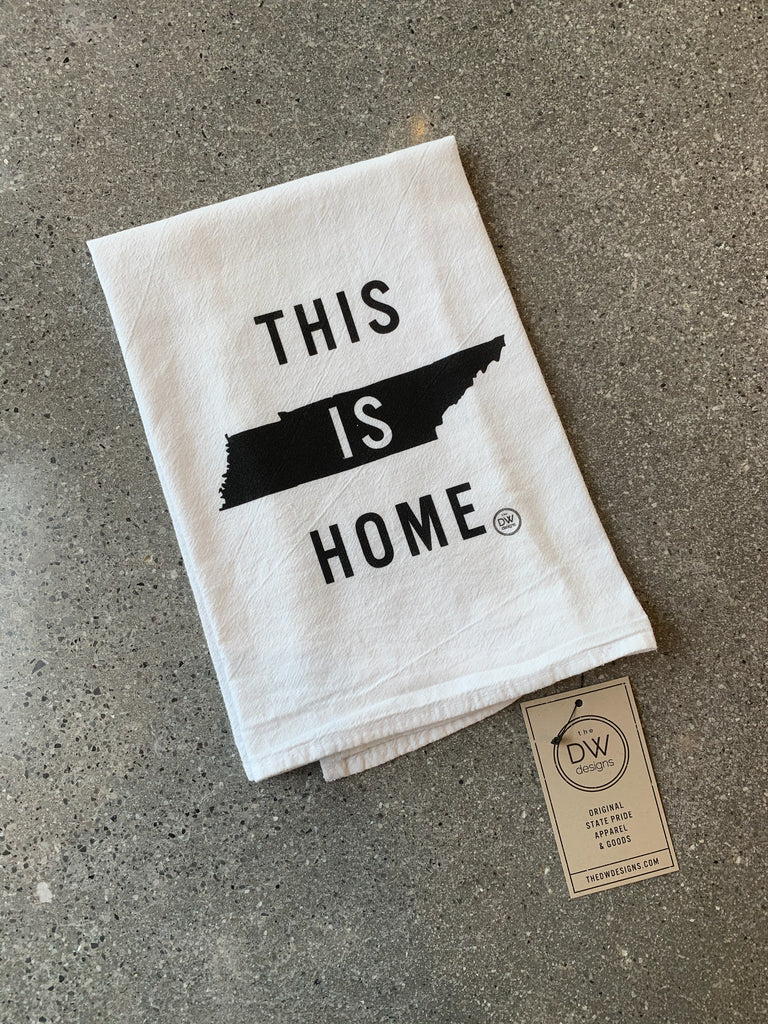 The This is Home Tea Towel - black (20 x 20)
