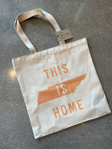 The This is Home Canvas Tote- orange