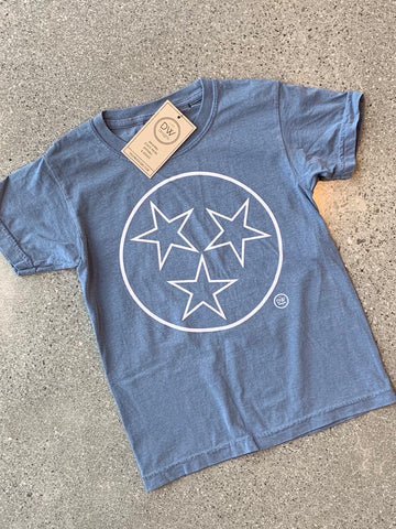 The Tristar Outline Kids Tee - Denim