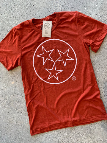 The Tristar Outline Tee - Rust