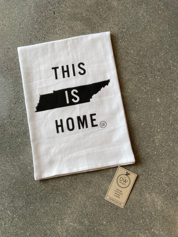 The This is Home Tea Towel - black (28 x 29)