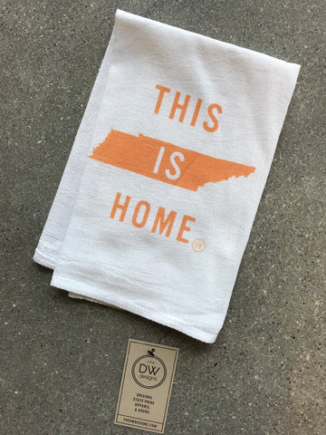 The This is Home Tea Towel - orange (20 x 20)