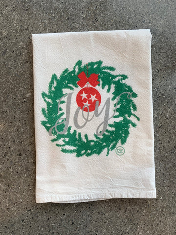 The TN Joy Wreath Christmas Tea Towel (20 x 20)